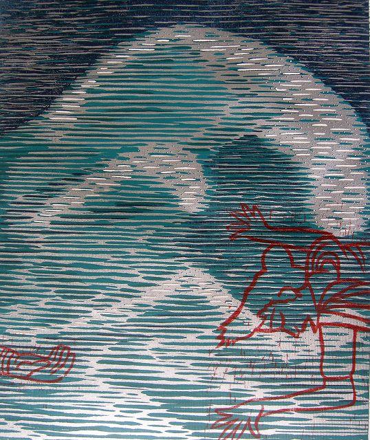 Die Klage - Holzdruck 2006 A.B.-A., Mechthild Hartmann-Schäfers