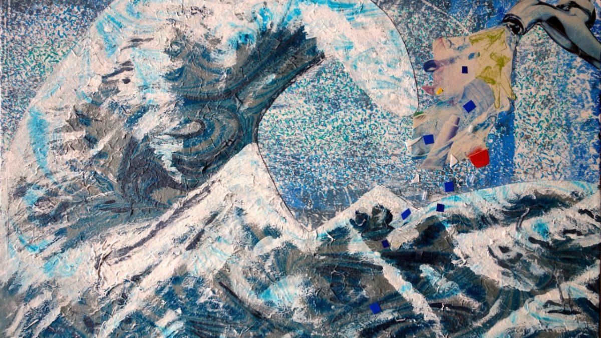 Die große Plastikwelle - Collage 2015 M.H.-S., Mechthild Hartmann-Schäfers
