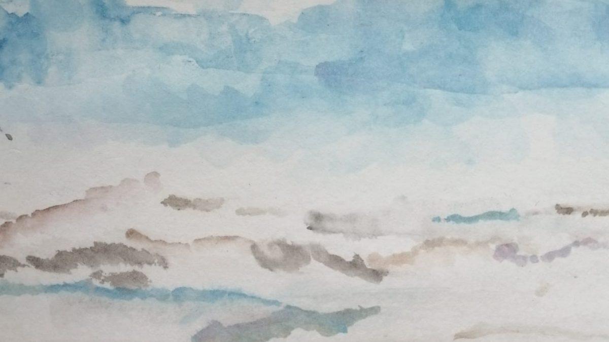 Eiszeit, Aquarell, 10x15, Angelika Harken