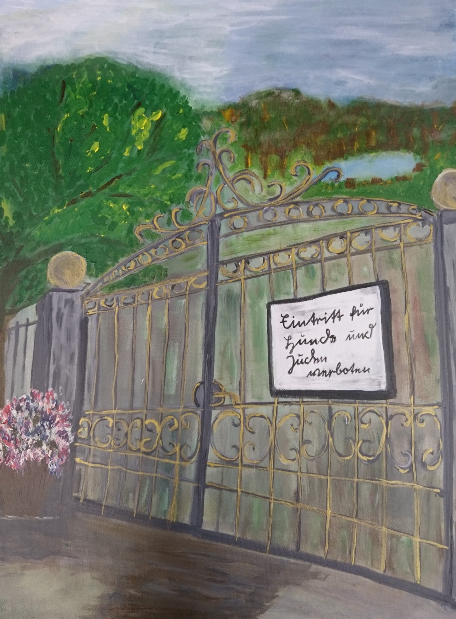 Mahnung, Acryl auf Leinwand, 50x70, Erika Nikoleizig